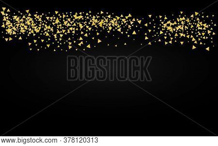 Gold Shine Effect Black Background. Modern Sparkle Pattern. Golden Shards Vector Background. Triangl
