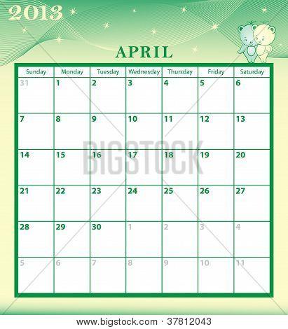 Calendar 2013 April