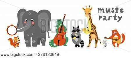 Vector Music Cartoon Animals Musicians Playing Musical Instruments. Music Concert Card, Poster