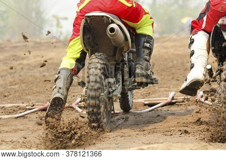 Motocross Racer Are Accelerating Speed In Track