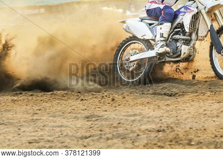 Motocross Racer Is Accelerating Speed In Track