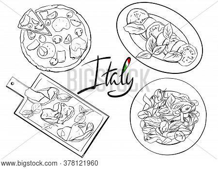Hand Drawn Italian Cuisine. Line Art Food Menu Design. Illustration Traditional Food Of Italy