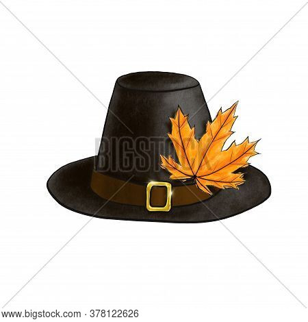 Black Pilgrim Hat With Autumn Orange Maple Leaf Isolated On White. Digital Imitation Of Pastel Illus