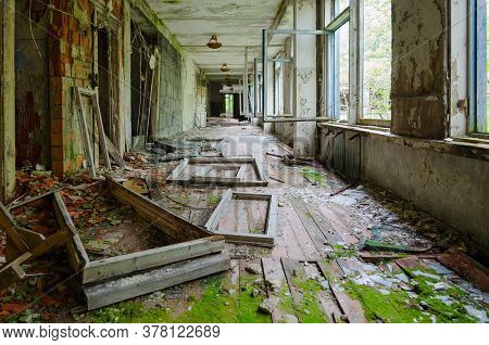 Corridor Of Abandoned School In Resettled Village Of Pogonnoe In Exclusion Zone Of Chernobyl Nuclear