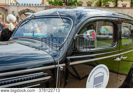 City Cesis, Latvia. A Trip Of Historic Vehicles. Old Historic Cars.