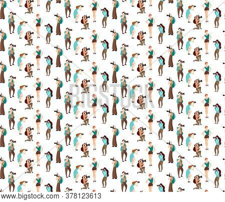 Colored Vector Seamless Patterns People.set Of Various Photographers Holding Photo Camera And Photog