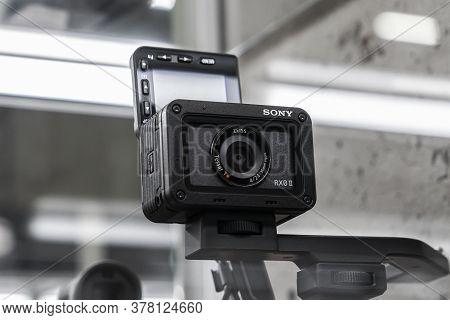 Krasnoyarsk, Russia, June 20, 2020: Sony Rx 2 Ii Camera In The Shop Window