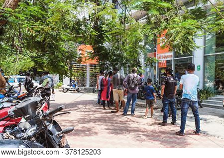Bangalore, India - May 31, 2020. Citizens Stand In Line To Shop During A Pandemic. Bangalore India