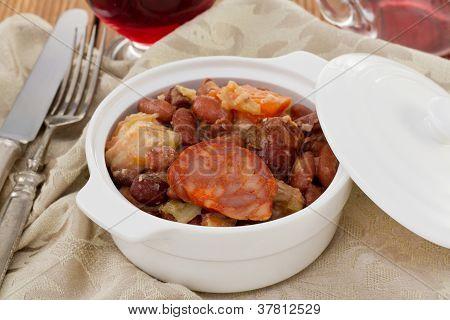 Feijoada In The White Bowl
