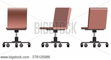 Set Of Trendy Vector Flat 3d Office Modern Computer Chairs With Pastel Brown Color Shades. Front, Si