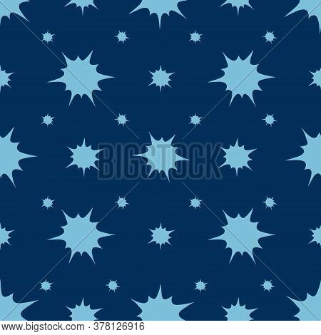 Snowflakes, Spots And Stars. An Endlessly Repeating Ornament. Boom. Explosion. Seamless Vector Patte