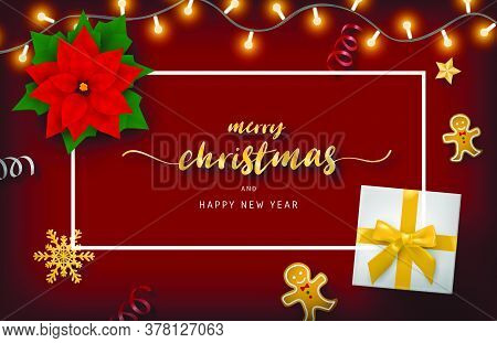 Merry Christmas And Happy New Year Banner With Decoration From Top View.