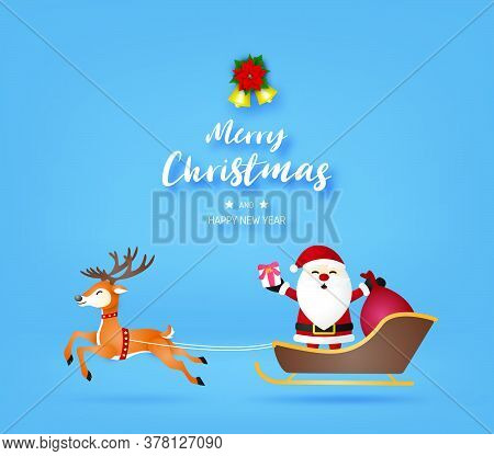 Merry Christmas And Happy New Year With Santa Claus And Reindeer On Blue Background.