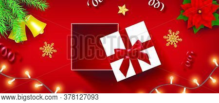 Merry Christmas Celebration And Happy New Year Background In Paper Cut Style.