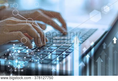 Businesswoman Hand Working With Modern Technology And Digital Layer Effect As Business Strategy Conc