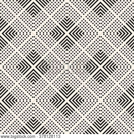 Vector Geometric Seamless Pattern With Squares, Lines, Grid, Diamonds, Rhombuses, Repeat Tiles. Simp