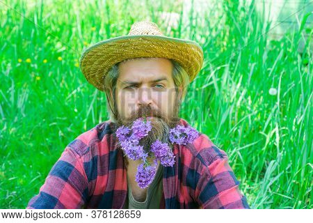 Flowers In My Beard. Portrait Of Handsome Bearded Man With Flowers In His Beard. Handsome Man With B