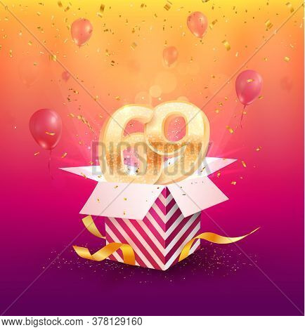 69th Years Anniversary Vector Design Element. Isolated Sixty-nine Years Jubilee With Gift Box, Ballo