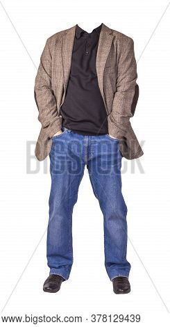 Mens Button Light Brown Jacket, Mens Blue Jeans, Leather Black Shoes And A Black Sweater Isolated On