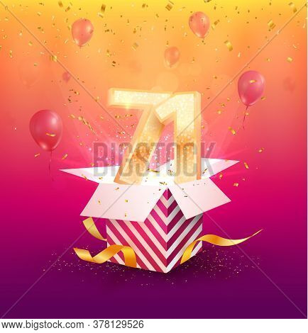 71st Years Anniversary Vector Design Element. Isolated Seventy-one Years Jubilee With Gift Box, Ball