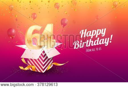 Celebrating 64th Years Birthday Vector Illustration. Sixty-four Anniversary Celebration Background.