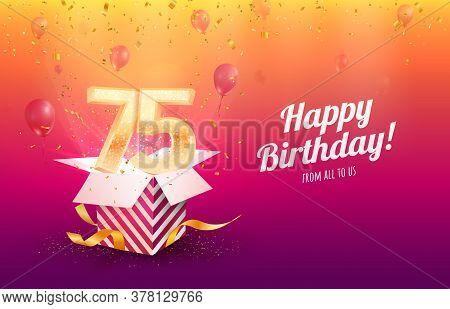Celebrating 75th Years Birthday Vector Illustration. Seventy-five Anniversary Celebration Background