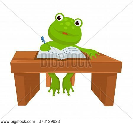 Frog Sitting By Table Writing In Textbook, Studying Animal