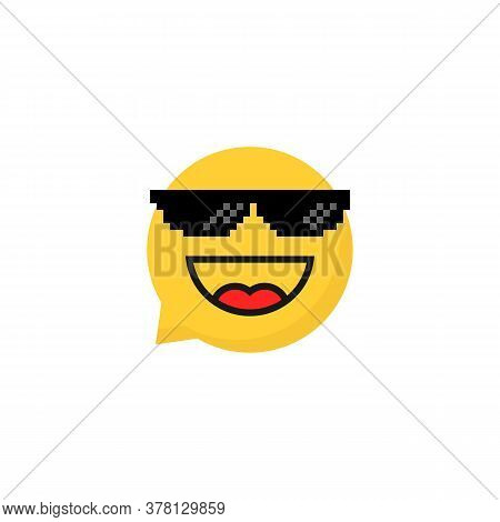 Pixelart Glasses On Laughing Emoji Bubble. Cartoon Flat Style Trend 8bit Expression Logotype Graphic