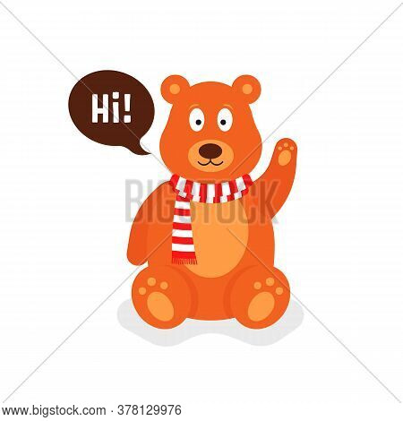 Little Cartoon Teddy Bear Says Hi. Flat Simple Style Trend Modern Graphic Teddybear Design On White