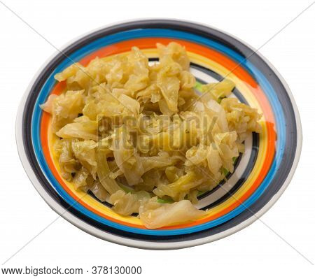Braised Cabbage In Plate Isolated On White Background. Braised Cabbage Top View .healthy Food. Veret