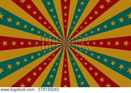 Circus Background, Abstract Pattern With Rays And Stars, Banner Element For Show, Fair. Circus Patte