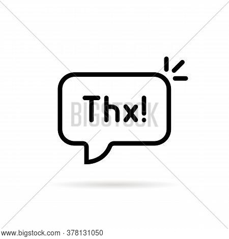 Black Linear Thx Speech Bubble. Flat Stroke Style Trend Modern Simple Logotype Graphic Art Design El
