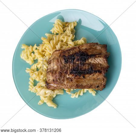 Grilled Pork Ribs With Pasta. Grilled Pork Ribs On Turquoise Plate Isolated On White Background. Gri