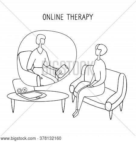 Patient Talking To Psychologist. Psychotherapy Counseling. Online Therapy Session. Doodle Vector Gra