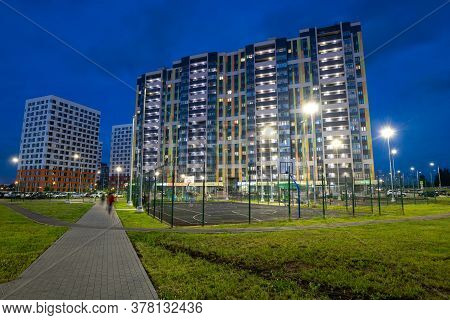 Moscow, Russia - July 7. 2020. Typical Modern Cityscape In A New Neighborhood