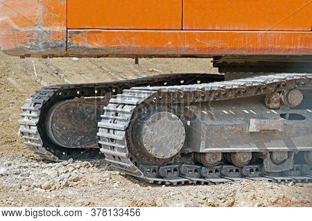 Part Of Modern Excavator Machines On Construction Sites