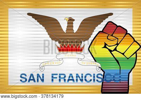 Shiny Lgbt Protest Fist On A San Francisco Flag - Illustration,  Abstract Grunge San Francisco Flag