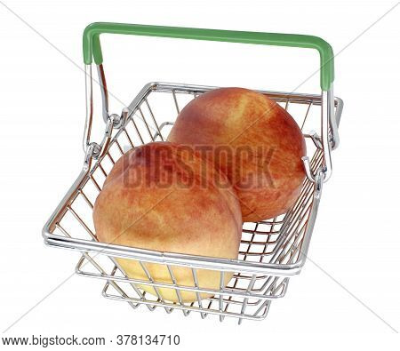 Metal Shopping Basket With Fresh Ripe Nectarines Inside Isolated On White Background