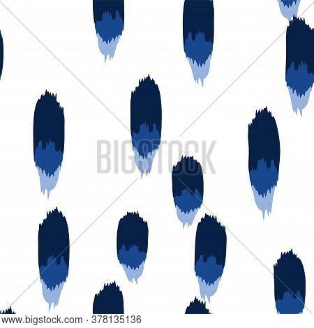 Blue Stain Vector Seamless Pattern. Color Smear Print. Indigo Watercolor Brushstroke Pattern.