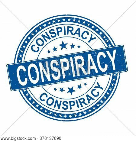 Blue Conspiracy. Grungy Round Rubber Stamp Logo Emblem