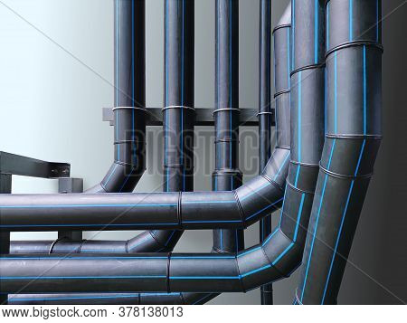 Water Utility Hdpe Piping System Against Light Blue Wall
