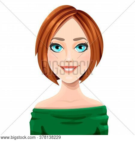 Girl With Red Hair, Womens Haircut On A White Background. Vector Illustration Of A Girl