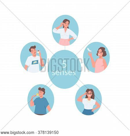 5 Senses Flat Color Vector Detailed Character. Men And Women Expressing Feelings. Smell, Touch And H