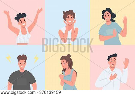 Different Emotional Expressions Flat Color Vector Detailed Character Set. Men And Women With Various