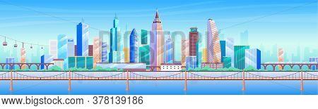 City Skyline Flat Color Vector Illustration. Modern Metropolis 2d Cartoon Cityscape With Skyscrapers