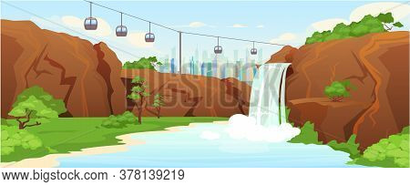 Urban Park Flat Color Vector Illustration. Waterfall In City Parkland 2d Cartoon Landscape With Skyl