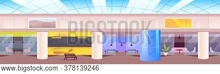 Food Court Flat Color Vector Illustration. Cafeteria In Shopping Mall 2d Cartoon Interior With Loung