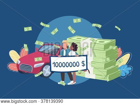 Lottery Winners Holding Big Money Check Flat Concept Vector Illustration. Happy Millionaires Couple