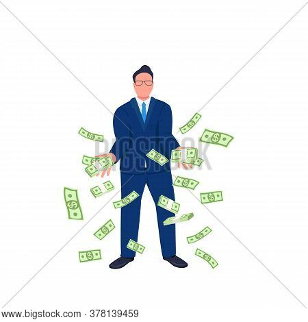 Businessman Throwing Money Up Flat Concept Vector Illustration. Tycoon. Successful Entrepreneur With