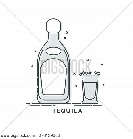 Set Of Tequila Bottles With A Glass And Traditional Snack Salt. Crystals Of Salt On The Rim Of Glass